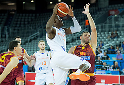 Charlon Kloof of Netherlands vs Marko Simonovski of Macedonia during basketball match between Netherlands and Macedonia at Day 2 in Group C of FIBA Europe Eurobasket 2015, on September 6, 2015, in Arena Zagreb, Croatia. Photo by Vid Ponikvar / Sportida