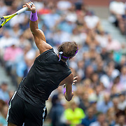 2019 US Open Tennis Tournament- Day Fourteen.   Rafael Nadal of Spain serving during his match against Danill Medvedev of Russia in the Men's Singles Final on Arthur Ashe Stadium during the 2019 US Open Tennis Tournament at the USTA Billie Jean King National Tennis Center on September 8th, 2019 in Flushing, Queens, New York City.  (Photo by Tim Clayton/Corbis via Getty Images)