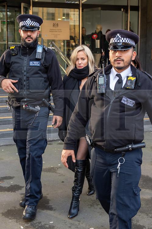 © Licensed to London News Pictures. 23/12/2019. London, UK. Caroline Flack departs Highbury Corner Magistrates' Court. Photo credit: Peter Manning/LNP