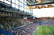 Chelsea fans waving flags in Italian colours to celebrate Antonio Conte, the Chelsea manager before k/o. Premier league match, Chelsea v West Ham United at Stamford Bridge in London on Monday 15th August 2016.<br /> pic by John Patrick Fletcher, Andrew Orchard sports photography.