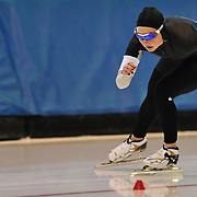 September 18, 2010 - Kearns, Utah - Briana Kramer and Maria Lamb races in long track speedskating time-trials held at the Utah Olympic Oval.