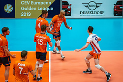 12-06-2019 NED: Golden League Netherlands - Estonia, Hoogeveen<br /> Fifth match poule B - The Netherlands win 3-0 from Estonia in the series of the group stage in the Golden European League / Michael Parkinson #17 of Netherlands, Thijs Ter Horst #4 of Netherlands, Nimir Abdelaziz #14 of Netherlands