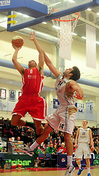 Bristol Academy Flyers' Greg Streete's shot is blocked by Essex Leopards' Greg Hernandez - Photo mandatory by-line: Dougie Allward/JMP - Tel: Mobile: 07966 386802 23/03/2013 - SPORT - Basketball - WISE Basketball Arena - SGS College - Bristol -  Bristol Academy Flyers V Essex Leopards