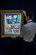 George Leslie Hunter, 1877-1931<br /> Still life of Pink Roses with Fruit and a Glass,<br /> est. £200,000-300,000 - Modern and Post-War British & Scottish Art at Sothebys New Bond Street. The sale will take place between 21 – 22 November.