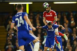 Alvaro Negredo of Middlesbrough jumps above Cesar Azpilicueta of Chelsea to head the ball - Mandatory by-line: Jason Brown/JMP - 08/05/17 - FOOTBALL - Stamford Bridge - London, England - Chelsea v Middlesbrough - Premier League
