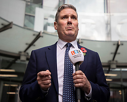 © Licensed to London News Pictures. 01/11/2020. London, UK. Labour Party Leader Sir Keir Starmer speaks to the media as he departs the BBC after appearing on the Andrew Marr Show. Photo credit: George Cracknell Wright/LNP