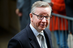 © Licensed to London News Pictures. 05/03/2016. London, UK. Justice Secretary MICHAEL GOVE leaving Rupert Murdoch and Jerry Hall's wedding ceremony at St Bride's Church in Fleet Street, London on Saturday, 5 March 2016. Photo credit: Tolga Akmen/LNP