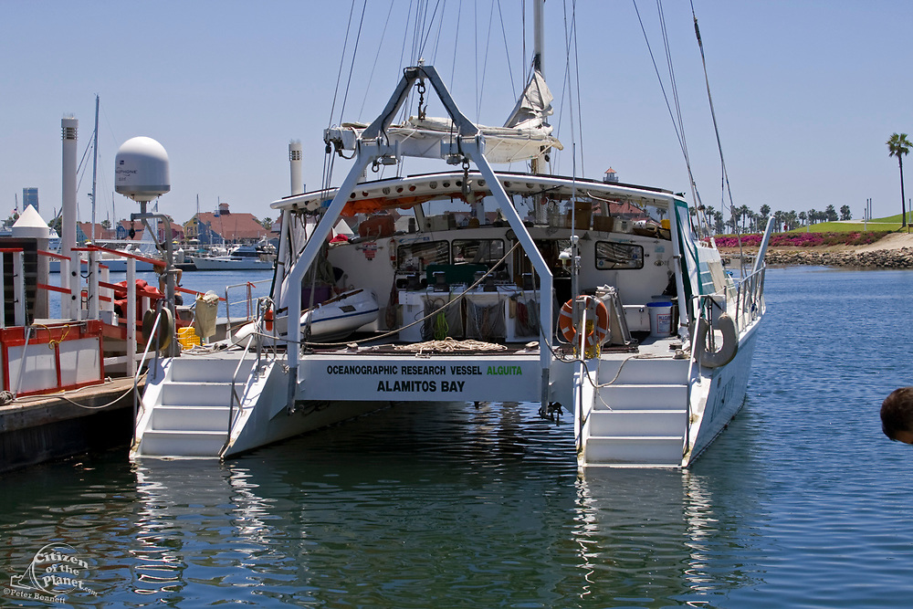 """The Research vessel Alguita readies to tow out the maiden voyage of the """"Junk"""" raft, from Long Beach Harbor. 5/18/08.  in June of 2008, the raft named """"Junk""""  will sail 2,100 miles from Los Angeles to Hawaii to bring attention to the plastic marine debris (nicknamed the plastic soup) accumulating in the North Pacific Gyre. Designed by Dr. Marcus Eriksen and Joel Paschal, the raft is constructed from 20,000 plastic bottles, an airplane fuselage, discarded fishing nets, a solar generator, and a bicycle generator. California, USA"""