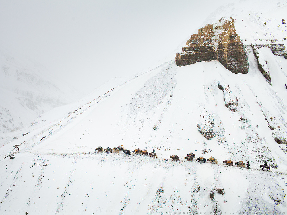 """High above tree line, a winter caravan of traders relies on their sure-footed yaks to traverse a high pass – the only way up and down from the Afghan Pamir. Never a large tribe, Kyrgyz nomads roamed central Asia for centuries and were infamous for raiding caravans along the Silk Route.<br /> <br /> From Zan Kuk to Zardibar (""""yellow door""""). <br /> <br /> Trekking back down from the Little Pamir, with yak caravan, over the frozen Wakhan river."""