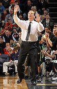 Dec. 17, 2010; Charlottesville, VA, USA; Oregon Ducks head coach Dana Altman calls a play during the game against the Virginia Cavaliers at the John Paul Jones Arena. Virginia won 63-48. Mandatory Credit: Andrew Shurtleff-