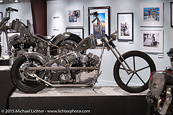 """Will Ramsey's custom 1960 Harley-Davidson Panhead in Michael Lichter's Motorcycles as Art annual exhibition titled """"The Naked Truth"""" at the Buffalo Chip Gallery during the 75th Annual Sturgis Black Hills Motorcycle Rally.  SD, USA.  August 4, 2015.  Photography ©2015 Michael Lichter."""