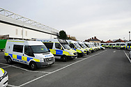 General view outside Ashton Gate Stadium of Police vans in the car park before the The FA Cup 5th round match between Bristol City and Wolverhampton Wanderers at Ashton Gate, Bristol, England on 17 February 2019.