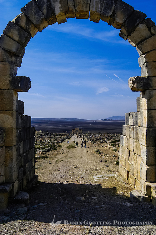 Volubilis is an archaeological roman site in Morocco situated near Moulay Idriss. The portal in front of the main street.