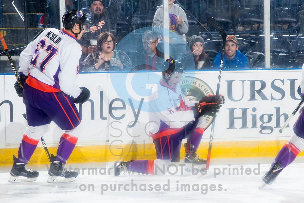 The Youngstown Phantoms defeat the Chicago Steel 4-3 in overtime at the Covelli Centre on November 18, 2017.<br /> <br /> Max Ellis, right wing, 6; Julian Kislin, defenseman, 67