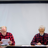 Bill Bright, right, and Eli Phillips attend a meeting of the Sustainable Gallup board at the Octavia Fellin Public Library in Gallup Monday.