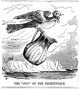 Florence Nightingale (1820 -1910) English nurse, flying to the aid of British troops in the Crimea. From 'Punch', London, 1854. Wood engraving.