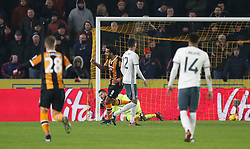 Hull City's Tom Huddlestone celebrates scoring his sides opening goal from the penalty spot during the EFL Cup Semi Final, Second Leg match at the KCOM Stadium, Hull.