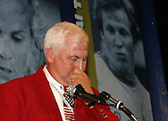 28 August 2006: 2006 inductee Al Trost is briefly overcome with emotion during his induction speech. The National Soccer Hall of Fame Induction Ceremony was held at the National Soccer Hall of Fame in Oneonta, New York.