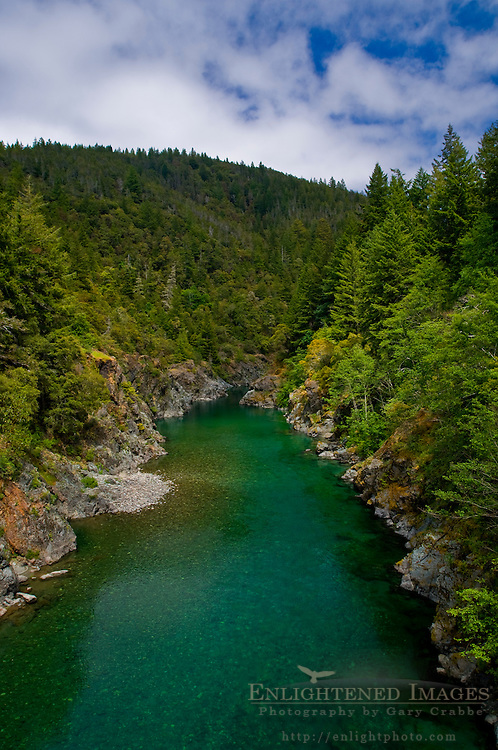 Smith River flowing through forest canyon, Del Norte County, California