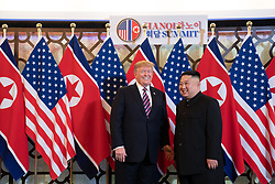 February 27, 2019 - Hanoi, Vietnam - U.S President DONALD TRUMP and North Korean leader and KIM JUNG-UN before a social dinner at the Sofitel Legend Metropole hotel in Hanoi, Vietnam (Credit Image: ? White House/ZUMA Wire/ZUMAPRESS.com)