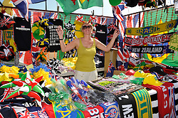 © Licensed to London News Pictures. 25/07/2012. Cardiff, Wales, UK.  Merchandise stall at the first event of the 2012 Olympics, the womens football match between Great Britain and New Zealand at the Millennium Stadium in Cardiff. 25 July 2012..Photo credit : Simon Chapman/LNP