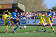 AFC Wimbledon defender Toby Sibbick (20) dribbling and having a chance in the box during the EFL Sky Bet League 1 match between AFC Wimbledon and Bristol Rovers at the Cherry Red Records Stadium, Kingston, England on 19 April 2019.