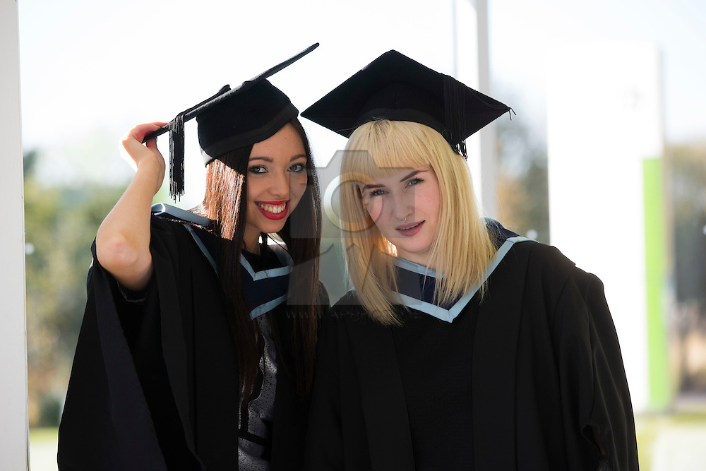 Naomi McAdam from Clarehall and Julie McDonald from Swords pictured at the Institute of Technology Blanchardstown (ITB) 2013 conferring ceremony. 2013 sees the largest number of students being conferred with awards at ITB with over 800 people receiving awards in areas like Mechatronic Engineering, Horticulture, Accounting and Finance, Early Childhood Care and Education and Information Security and Digital Forensics to name but a few. Picture Andres Poveda