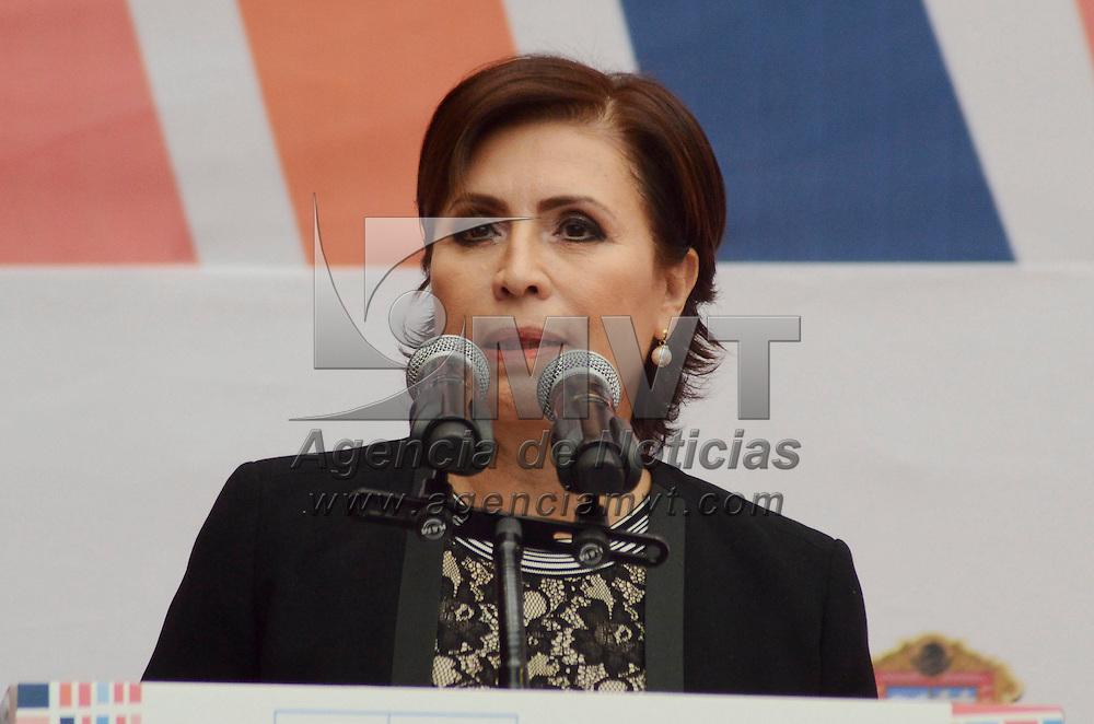 Toluca, México (Abril 18, 2016).- Rosario Robles Berlanga, titular de la Secretaría de Desarrollo Agrario, Territorial y Urbano (SEDATU), durante la inauguración de la Reunión Regional Habitat 2016 que se realizó en Toluca.  Agencia MVT / José Hernández.