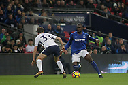 Yannick Bolasie of Everton runs at Ben Davies of Tottenham Hotspur .<br /> Premier league match, Tottenham Hotspur v Everton at Wembley Stadium in London on Saturday 13th January 2018.<br /> pic by Kieran Clarke, Andrew Orchard sports photography.
