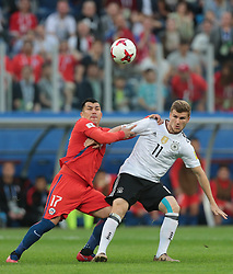 July 2, 2017 - Saint Petersburg, Russia - Gary Medel (L) of the Chile national football team and Timo Werner of the Germanyl national football team vie for the ball during the 2017 FIFA Confederations Cup final match between Chile and Germany at Saint Petersburg Stadium on July 02, 2017 in St. Petersburg, Russia. (Credit Image: © Igor Russak/NurPhoto via ZUMA Press)