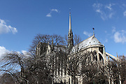 Views of the south and east sides of Notre Dame in Paris