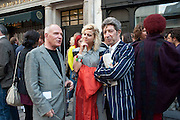 JOHN PEARSE; DUGGIE FIELDS; ASSIA ROSICA, Private view and Summer party for Scream Now. An exhibitio of new work by gallery artists. Bruce French,, Derrick Santini, Greg Miller, Malgosia Stepnik, Pakpoom Silaphan, Petroc Sesti, Russell Young. Scream. Bruton st. London. 4 August 2011. <br /> <br />  , -DO NOT ARCHIVE-© Copyright Photograph by Dafydd Jones. 248 Clapham Rd. London SW9 0PZ. Tel 0207 820 0771. www.dafjones.com.