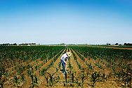 José Lopez digs irrigation ditches for crops on farmland near Longmont, Colorado. He said there are some things machinery just can't do as well as manual labor.
