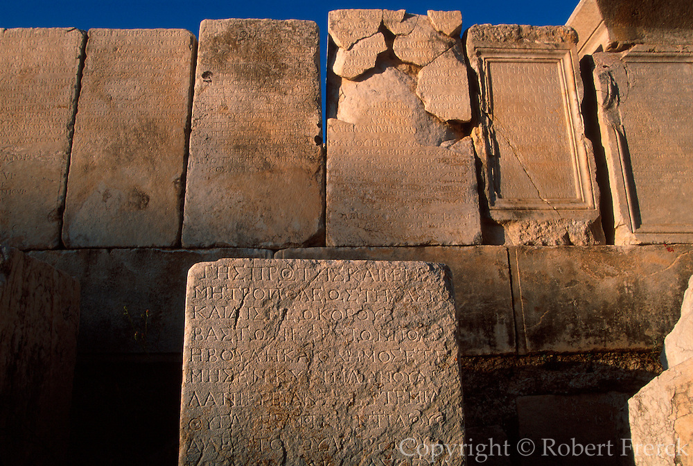 TURKEY, ROMAN CULTURE EPHESUS; carved inscriptions along the Curetes Way next to the Temple of Hadrian