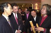 His Excellency, Mr. Sadayuki Hayashi Ambassador of Japan  meeting Tatsumi Orimoto. Celebration of Tokyo Life . Selfridges. London. 30 April 2001. © Copyright Photograph by Dafydd Jones 66 Stockwell Park Rd. London SW9 0DA Tel 020 7733 0108 www.dafjones.com