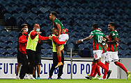 Rodrigo Pinho of Maritimo celebrates his second goal during the Portuguese League (Liga NOS) match between FC Porto and Maritimo at Estadio do Dragao, Porto, Portugal on 3 October 2020.