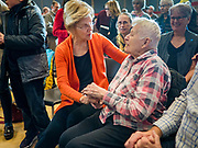 04 NOVEMBER 2019 - GRINNELL, IOWA: US Senator ELIZABETH WARREN (D-MA), left, talks to local residents in Grinnell. Sen. Warren spoke to a crowd of about 850 students and local residents. She brought her campaign to be the Democratic nominee for the US Presidency to the college town of Grinnell, Iowa, Monday. Iowa holds the first selection event of the 2020 presidential election cycle. The Iowa caucuses are Feb. 3, 2020.          PHOTO BY JACK KURTZ