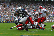 Penn State's Tony Hunt breaks a tackle for an 11-yard touchdown run in the second quater of the Nittany Lions game against the Youngstown State Penguins on September 16, 2006 at Beaver Stadium.