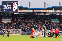 the teams of Willem II and AZ at the start of the match during the Dutch Eredivisie match between Willem II Tilburg and AZ Alkmaar at Koning Willem II stadium on January 28, 2018 in Tilburg, The Netherlands