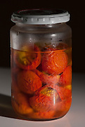 Preserved tomatoes in a jar