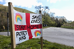 Covid 19 - homemade sign on road leading to popular Dorset beaches during Coronavirus lockdown. UK April 2020