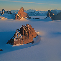 The Fenris Mountains glow in midnight sun, Queen Maud Land, Antarctica.