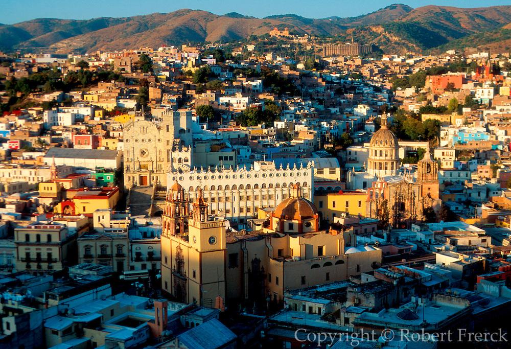 MEXICO, GUANAJUATO skyline with University and Basilica