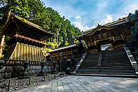 Ko-Ro Drum Tower and Yasha-mon Gate at Taiyu-in - Taiyu-in is the mausoleum of Iemitsu Tokugawa the shogun who was the grandson of Ieyasu. Rinnoji Temple was founded in 766 AD by the Buddhist hermit monk Shodo Shonin.  Rinnoji quickly became a popular retreat for ascetic monks who wished to meditate in the mountains.  It was once so important that it had 500 sub-temples under its rule.  Rinnoji is best known for its Sanbutsudoh Three Buddha Hall and the beautiful Japanese meditation garden Shoyo-en on its grounds.  The layout at Shoyo-en is modeled after Lake Biwa, showing the Japanese knack for representation through reduction and miniaturization.
