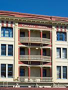 Street-level photograph of the historic Grand Hotel, along Dee Street, Invercargill, New Zealand