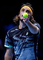 Tennis - 2019 Nitto ATP Finals at The O2 - Day Seven<br /> <br /> Semi Finals: Stefanos Tsitsipas (Greece) Vs. Roger Federer (Switzerland) <br /> <br /> Stefanos Tsitsipas (Greece) serves<br /> <br /> COLORSPORT/DANIEL BEARHAM<br /> <br /> COLORSPORT/DANIEL BEARHAM