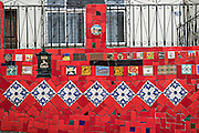 Detail of the Escadaria Selaron or Selaron Steps, public art work made from thousands of tile mosaic set in a stairway between Lapa and Santa Teresa neighborhoods in Rio de Janeiro, Brazil. The steps are a creation and work of Chilean-born artist Jorge Selaron.