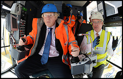 Mayor of London visit to DP World London Gateway.<br /> The Mayor of London, Boris Johnson  in a crane during a visit to the DP World London Gateway site to see for himself the progress made on its construction and to discuss the benefits the port will have for London,<br /> Essex, United Kingdom<br /> Tuesday, 30th July 2013<br /> Picture by Andrew Parsons / i-Images