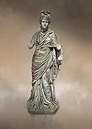Roman statue of a woman. Marble. Perge. 2nd century AD. Inv no 2015/186. Antalya Archaeology Museum; Turkey. Against a warm art background. .<br /> <br /> If you prefer to buy from our ALAMY STOCK LIBRARY page at https://www.alamy.com/portfolio/paul-williams-funkystock/greco-roman-sculptures.html . Type -    Antalya     - into LOWER SEARCH WITHIN GALLERY box - Refine search by adding a subject, place, background colour, museum etc.<br /> <br /> Visit our ROMAN WORLD PHOTO COLLECTIONS for more photos to download or buy as wall art prints https://funkystock.photoshelter.com/gallery-collection/The-Romans-Art-Artefacts-Antiquities-Historic-Sites-Pictures-Images/C0000r2uLJJo9_s0