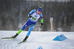 February 8, 2019 - Calgary, Alberta, Canada - Yaliotnau Raman (BLR) is competing during Men's Relay of 7 BMW IBU World Cup Biathlon 2018-2019. Canmore, Canada, 08.02.2019 (Credit Image: © Russian Look via ZUMA Wire)